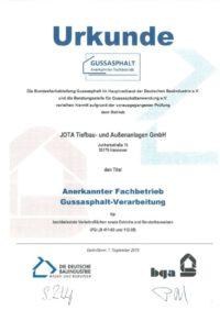 Zertifikat Gussasphalt